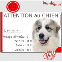 Plaque portail humour Attention au Chien Nombre de Voleurs, ballons, facteurs, Montagne des Pyrénées, pancarte panneau photo