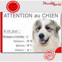 """Montagne des Pyrénées, plaque """"Nombre de Voleurs, ballons, facteurs, Attention au Chien"""" 24 cm NBR"""