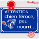 """""""Attention Chien Féroce, Peu Nourri..."""" Plaque bleue portail humour marrant drôle panneau affiche pancarte rue"""