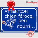 """Plaque Portail """"Attention, Chien Féroce, Peu Nourri..."""" 3 tailles FUN C"""