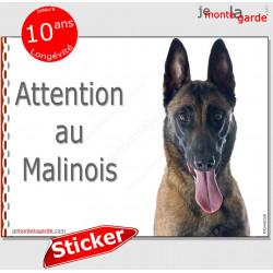 """Berger Belge Malinois, panneau autocollant """"Attention au Chien"""" Pancarte photo sticker adhésif"""