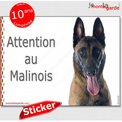 "Berger Belge Malinois, panneau autocollant ""Attention au Chien"" Pancarte photo sticker adhésif"