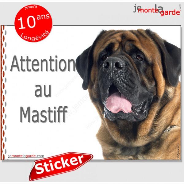 """Mastiff, sticker photo autocollant """"Attention au Chien"""" Pancarte adhésif portail boîte aux lettres"""