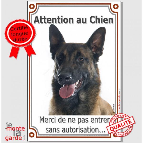 """Berger Belge Malinois, plaque portail verticale """"Attention au Chien, interdit sans autorisation"""" pancarte panneau"""