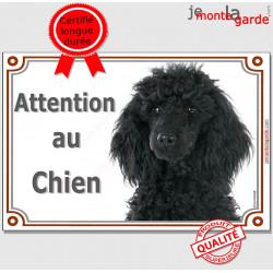 """Caniche Noir Tête, Plaque portail """"Attention au Chien"""" panneau affiche pancarte photo"""