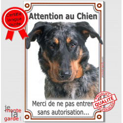 "Beauceron Tête, plaque verticale ""Attention au Chien"" 24 cm LUX"