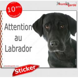 """Labrador noir, panneau autocollant """"Attention au Chien"""" Pancarte photo sticker adhésif"""