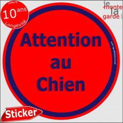 """Panneau sticker autocollant rond """"Attention au Chien"""" rouge liseré bleu adhésif portail pancarte porte boîte aux lettres"""