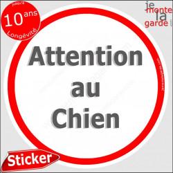 """Panneau sticker autocollant rond """"Attention au Chien"""" blanc liseré rouge adhésif portail pancarte porte boîte aux lettres"""