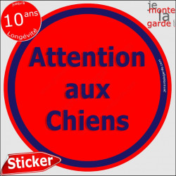 """Panneau sticker autocollant rond """"Attention aux Chiens"""" rouge liseré bleu adhésif portail pancarte porte boîte aux lettres"""