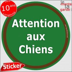 """Panneau sticker autocollant rond """"Attention aux Chiens"""" vert liseré marron adhésif portail pancarte porte boîte aux lettres"""