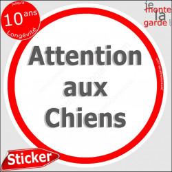 """Panneau sticker """"Attention aux Chiens"""" blanc liseré rouge 14 cm"""