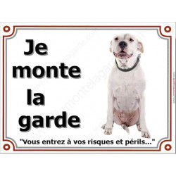 Plaque 4 tailles LUXE je Monte la Garde, Dogue Argentin sympa Assis