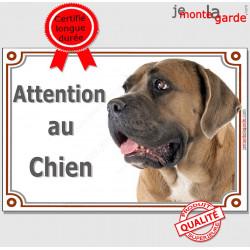 """Cane Corso fauve, pancarte portail """"Attention au Chien"""", panneau photo race, plaque porte entrée"""