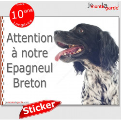 "Epagneul Breton, autocollant ""Attention au Chien"" 16 x 12 cm"