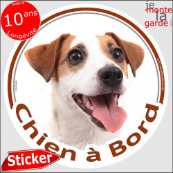 "Jack Russell, sticker ""Chien à Bord"" 14 cm"
