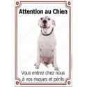 """Dogue Argentin Sympa Assis, plaque portail """"Attention au Chien"""" 24 cm LUXE"""