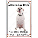 Plaque 24 cm LUXE Attention au Chien, Dogue Argentin Sympa Assis