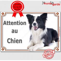 """Border Collie couché, plaque """"Attention au Chien"""" 2 tailles LUX B"""