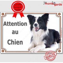 "Border Collie, plaque ""Attention au Chien"" 2 tailles LUX C"