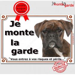 """Boxer Bringé tête, plaque """"Je Monte la Garde"""" 2 tailles LUX B"""