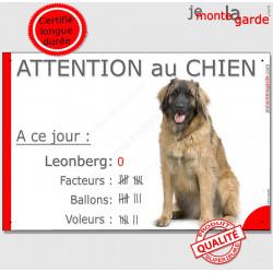 """Leonberg, plaque """"Attention au Chien, Nombre de Voleurs, ballons, facteurs"""" 24 cm NBR"""
