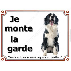 Border Collie sympa Assis, Plaque portail Je Monte la Garde, panneau affiche pancarte, risques périls attention au chien