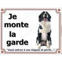"""Border Collie noir et blanc Assis, plaque """"Je Monte la Garde"""" 2 tailles LUXE"""