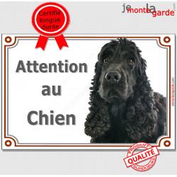 """Cocker Anglais Spaniel noir, Plaque portail """"Attention au Chien"""" Pancarte photo, panneau race"""