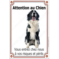 Plaque 24 cm LUXE Attention au Chien, Border Collie Sympa Assis