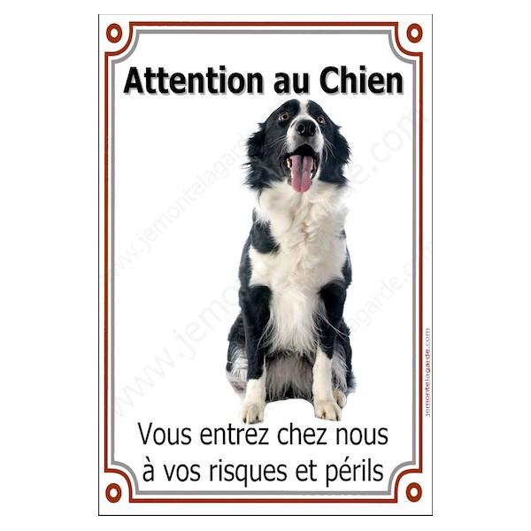 Border Collie Sympa Assis, Plaque Portail Attention au Chien verticale, risques périls, pancarte, affiche panneau