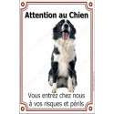 "Border Collie Assis, plaque portail ""Attention au Chien""  24 cm LUX"