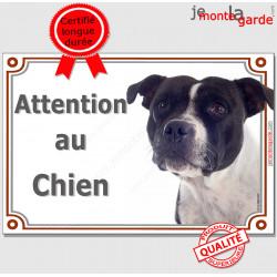 """Staffordshire Bull Terrier blanc et noir, Plaque """" Attention au Chien"""" Pancarte photo Staffie, Panneau portail"""