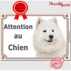 """Samoyède tête, Plaque portail """"Attention au Chien"""" Pancarte photo panneau race entrée"""