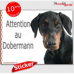 """Dobermann, autocollant """"Attention au Chien"""" 16 x 12 cm"""
