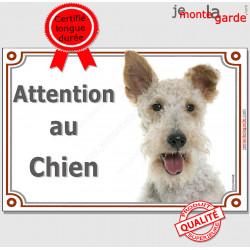 """Fox Terrier poils durs Tête, plaque portail """"Attention au Chien pancarte panneau affiche photo"""