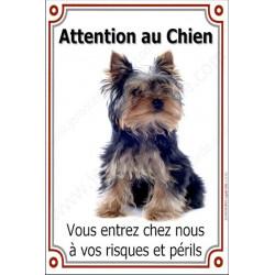 Plaque 24 cm LUXE, Attention au Chien, Yorkshire Assis