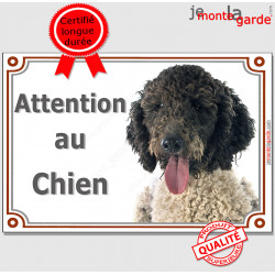 """Chien d'Eau Espagnol noir et blanc, plaque portail """"Attention au Chien"""" pancarte photo panneau race affiche"""
