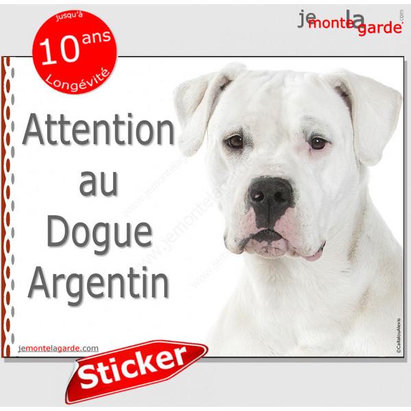 """Dogue Argentin, disque autocollant """"Attention au Chien"""" Sticker photo adhésif"""