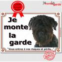 """Bouvier des Flandres, plaque """"Je Monte la Garde"""" 2 tailles LUX B"""