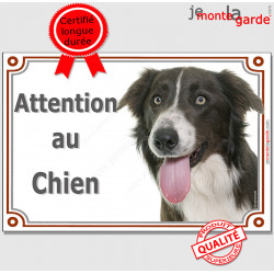 "Border Collie, plaque portail ""Attention au Chien"" 24 cm LUXE C"