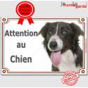 """Border Collie Tête, plaque portail """"Attention au Chien"""" 24 cm LUXE A"""
