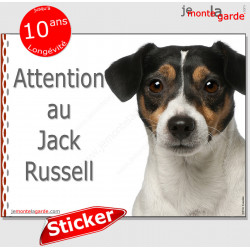 "Jack Russell Terrier tricolore, disque autocollant ""Attention au Chien"" Sticker panneau photo adhésif"