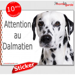 "Dalmatien, panneau autocollant ""Attention au Chien"" pancarte sticker photo adhésif"