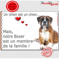 """Boxer Fauve Couché, Plaque """"un chien est un membre de la famille"""" pancarte, affiche panneau photo idée cadeau"""