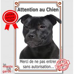 """staffie noir tête, Plaque Portail """"Attention au Chien, interdit sans autorisation"""" verticale, pancarte, affiche Staffordshire"""