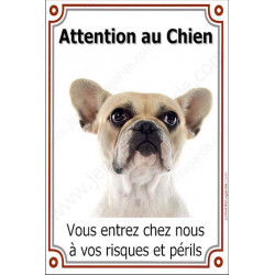 """Bouledogue Français Caille Fauve Tête, plaque portail """"Attention au Chien""""  24 cm LUXE"""