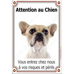 Bouledogue Français Caille Fauve Tête, Plaque Portail Attention au Chien verticale, risques périls, pancarte, affiche panneau