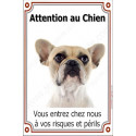 Plaque 24 cm LUXE, Attention au Chien, Bouledogue Français Caille Fauve Tête