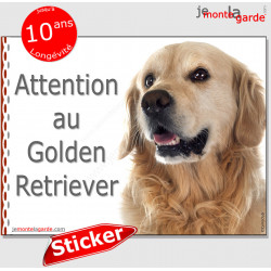 """Golden Retriever, panneau autocollant """"Attention au Chien"""" Pancarte sticker photo adhésif"""